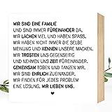 Wunderpixel Holzbild Wir sind eine Familie - 15x15x2cm zum Hinstellen/Aufhängen, echter Fotodruck...