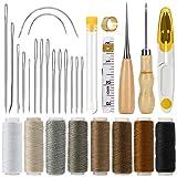 COSYLAND Leder Werkzeuge Set 29 Stück Hand Ledernadeln DIY Handwerk Ledernähset Nähzubehör mit...