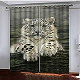 xmydeshoop Vorhang Blickdicht - 3D Druck Netter Kleiner Weißer Tiger - Ösenvorhänge, 290(H)...