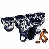 HUIJK 6 Glühweinbecher blau 0,2L geeicht Glühweintasse Kaffeebecher Weihnachten Tassen