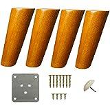 SBDLXY 4Pack Eichenmöbelbeine, Massivholz-Sofabeine, konische Ersatzmöbelfüße, für Couch Sofa...