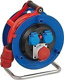 Brennenstuhl Garant CEE 1 IP44 Kabeltrommel (25m Kabel in signalrot, aus Spezialkunststoff, Einsatz...