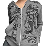 Frauen Full Zip Hoodies Fashion Portrait Print Langarm Lose Sweatshirt Tops, dunkelgrau, 36