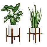 Reservilla Verstellbarer Pflanzenständer Mid Century Wood Blumenständer Modern Blumentopfhalter...