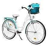 Milord. 26 Zoll 3-Gang Weiß Aquablau Komfort Fahrrad mit Korb Hollandrad Damenfahrrad Citybike...