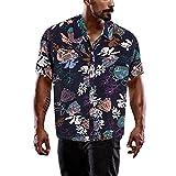 UNDER Männer Hawaiian Hemden Kurzarm Front Tasche Urlaub Sommer Aloha Printed Beach Casual Hawaii...