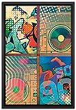 Pixxprint So 90s Leinwandbild 60x40 cm im Bilderahmen | Wandbild | Schattenfugenrahmen | Kein Poster