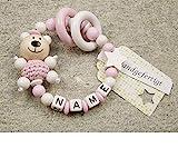 Baby Greifling Beißring geschlossen mit Namen - individuelles Holz Lernspielzeug als Geschenk zur...