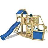 WICKEY Spielturm Klettergerüst OceanFlyer mit Schaukel & blauer Rutsche, Baumhaus mit Sandkasten,...