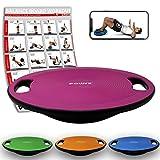 POWRX Balance Board inkl. Workout I Wackelbrett  40cm mit Griffen I Therapiekreisel fr...