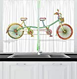 FAFANIQ Bicycle Kitchen Curtains, Colorful Tandem Bicycle Design on White Background Pattern Clipart...