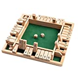 Scucs Holz Brettspiel, 4-Spieler Shut The Box Würfelspiel Mathematik Traditional Pub Board...