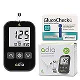 Adia Vorteilspack Blutzuckermessgerät-Set (mg) + 60 Blutzuckerteststreifen + 110 Lanzetten zur...