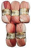 Alize 5 x 100 g Strickwolle Mehrfarbig mit Farbverlauf, 500 Gramm Strickgarn mit 20% Wolle-Anteil...