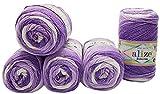 5 x 100g Babywolle Bebe Batik Mehrfarbig, 500 Gramm Wolle zum Stricken und Häkeln (Flieder weiß...