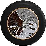 HHHello-Griend-Shop Schneebedeckte alte Wassermühle im Wald Reserveradabdeckung Passend für:...