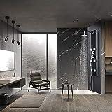 WENHAUS Schwarz Glass Duschpaneel Duschsäule 3 Duschfunktionen Mit Regenduschkopf 6 Massagejets Und...