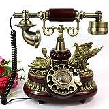 Cylficl Europäischer Drehteller Antik Retro Telefon Vintage Antik Festnetz, Kunstharz, rot