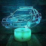 Vbnmda 3D-Illusionslampe LED-Nachtlicht Nachtpolizeiautos Modell Tischlampe Kinder Geschenk...