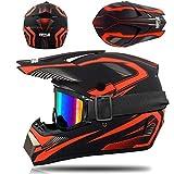 Motocross Helm mit Brille Handschuhe Maske, Motorrad Crosshelm Kinder Off Road Helm Motorradhelm...