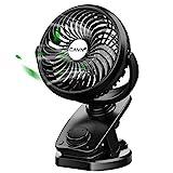 CAVN 5000mAh Leise Tischventilator Clip Fan, Mini USB Ventilator, Auto-Oszillierend, 360° Drehung...