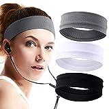 Stirnband für Damen 3St, Elastische Herren Sport Schweißband Baumwolle Lauf Kopfband, rutschfeste...