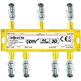 TronicXL 4K Sat Splitter 6-Fach BK Verteiler 3D / HD TV tauglich/DC-Durchlass/Kabel...