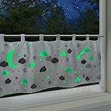 Delindo Lifestyle® fluoreszierende Scheibengardine DREAM, Gardine für Kinder, 45x120 cm, moderne...
