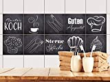 GRAZDesign Fliesenaufkleber Anthrazit mit Spruch Guten Appetit für Küche | alte Küchen-Fliesen...