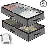 Dafooda 2 x robuste Unterbettkommode, Stoff, atmungsaktiv 100 x 50 x 18 cm (90 Liter) +...