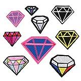 CAOLATOR 9 Stück Applique Patch Aufnäher Applikation Diamant DIY Kleidung Patches Flicken Nähen...