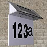 Solar Hausnummernleuchte Edelstahl LED Licht beleuchtete Hausnummer Wandleuchte Türschild...