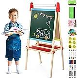 Joyooss 3 in 1 Holz Kindertafel mit Papierrolle, Doppelseitige Magnetische Whiteboard und...