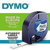 Dymo Authentisch Kunststoffetiketten LetraTag, 12 mm x 4 m, schwarz auf weiß, für Dymo LetraTag...