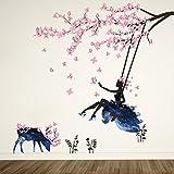 Wandtattoo Mädchen auf Baum Swing & Moose Silhouette Wand Aufkleber mit Rosa Schmetterlinge...