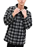 LSalas Herren Classic Fleece Gefttert Full Zip Hooded Plaid Flanell Hemd Jacke Gr. L, grau