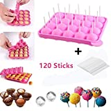 Silikon Cake Pop Backform -20 Runde BPA-Frei Lollipop Silikonform Form & Ice Cube Tabletts + 120...