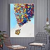 JNZART Öl Luft Luftballon Haus Gemälde Landschaft auf Leinwand einzigartige Geschenk Kalligraphie...