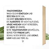 Wunderpixel Holzbild Toiletten-Regeln - 15x15x2cm zum Hinstellen/Aufhängen, echter Fotodruck mit...