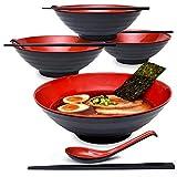 ZHTY 2 Sätze Ramen Bowl Suppentassen nach japanischer Art mit Essstäbchen und Löffeln Set - Groß...