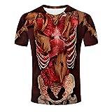 Männer Sommer 3D Skelett Printed T-Shirt, Tops Herren Kurzarm Rundhals T-Shirt Bluse,Reguläre...