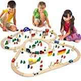 EYEPOWER 130-teilige Holzeisenbahn Set Spielzeug-Eisenbahn 5m Holzbahn Kinder-Bahn Zug Spiel-Set...