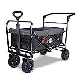 TMZ Gummireifen 360° Drehrad Gartenwagen Push & Pull Einkaufstrolley mit einer Fußbremse 90L...