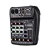 Muslady Mischpult AI-4 Kompakt Soundkarte Digital Audio Mixer 4-Kanal BT MP3 USB-Eingang + 48V...
