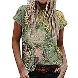 T-Shirt Damen Sommer Oberteile Kurzarm Blusen T-Shirt O-Ausschnitte Loose Oversize Shirt Damen Welt...