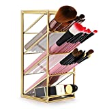 Sumnacon Schreibtisch-Organizer/Make-up-Pinsel-Halter aus Metall, Vintage, goldfarben, mit 4...