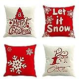 tronisky 4er Set Weihnachten Kissenbezug Dekorative Kissenhülle, Weihnachtsbaum Winter Schneeflocke...