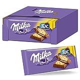Milka Alpenmilch Schokolade & TUC Cracker 18 x 87g, Zartschmelzende Schokoladentafel mit gesalzenen...