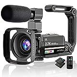 Videokamera 2.7K Camcorder UHD 36MP Vlogging Kamera für YouTube IR Nachtsicht 3.0' LCD Touchscreen...