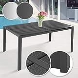 MIADOMODO Gartentisch 150 x 90 cm - aus Stahl und Kunststoff, für bis zu 6 Personen, Witterungs-...
